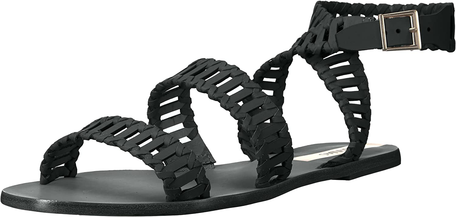 KAANAS Womens Jijoca Ladder Strap Leather Gladiator Flat Sandal Flat Sandal