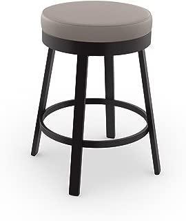 Amisco Clock Swivel Metal Counter Stool, 26-Inch, Dark Brown Metal and Warm Grey Polyurethane