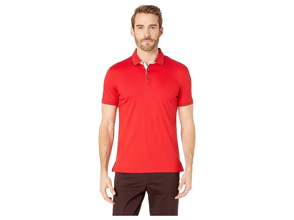 Calvin Klein Short Sleeve Solid Tipped Rib Collar Contrast Placket Collar Standard Polo (Deep Scarlet) Men