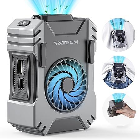 Mini Ventilateur, VATEEN Ventilateur USB, Ventilateur Silencieux 3 Vitesse, Ventilateur Portable Nuque Rechargeable, Batterie 6000mAh Intégrée, Alao Comme Lampe de Poche & Batterie Externe