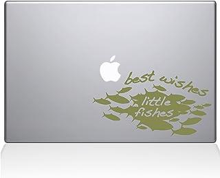 """The Decal Guru 1022-MAC-15X-G Best Wishes Little Fishes Vinyl Sticker, 15"""" Macbook Pro (2016 & newer), Gold"""