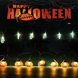 2 Pcs Halloween-pompoen LED-lichtslingers 4m 20 LED Halloween Decor Lichtslingers Batterij Aangedreven String Fairy Lights...