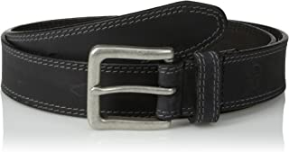 Men's Classic Leather Jean Belt 1.4 Inches Wide (Big & Tall Sizes Available), Black (Stitched), 34