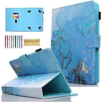 AMOTIE - Funda universal para tablet de 7 pulgadas, con soporte y ranuras para tarjetas de crédito para Samsung Galaxy Tab E 7.0/Tab A 7.0/Fire 7.0 2015 2017/Lenovo/RCA y más tabletas de 6.5-7.5 pulgadas, color azul mármol