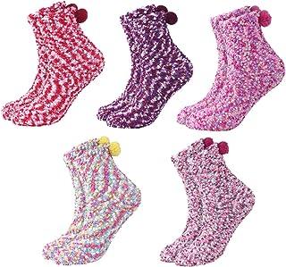DEBAIJIA, Mujer Calcetines 5 Pares Niñas Cupcakes Invierno Calientes Vellón de Coral Suaves Cómodos Coloridos