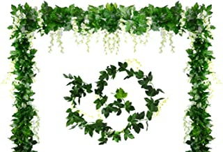 Aobear 4Pcs 7.2 Ft Artificial Flower Vine Silk Wisteria Garland Hanging Rattan with Ivy Leaf Hanging Plants Vines Faux Greenery Fake Green Leaf Garland for Wedding Kitchen Home Party Decor (White)