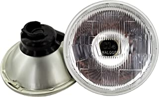 GS Power`s Chrome OEM style 7 inch Round Glass Lens Housing H4 HID LED Halogen High Low Beam Headlight Lamp Conversion Replacement (2 pc, Lights not included)