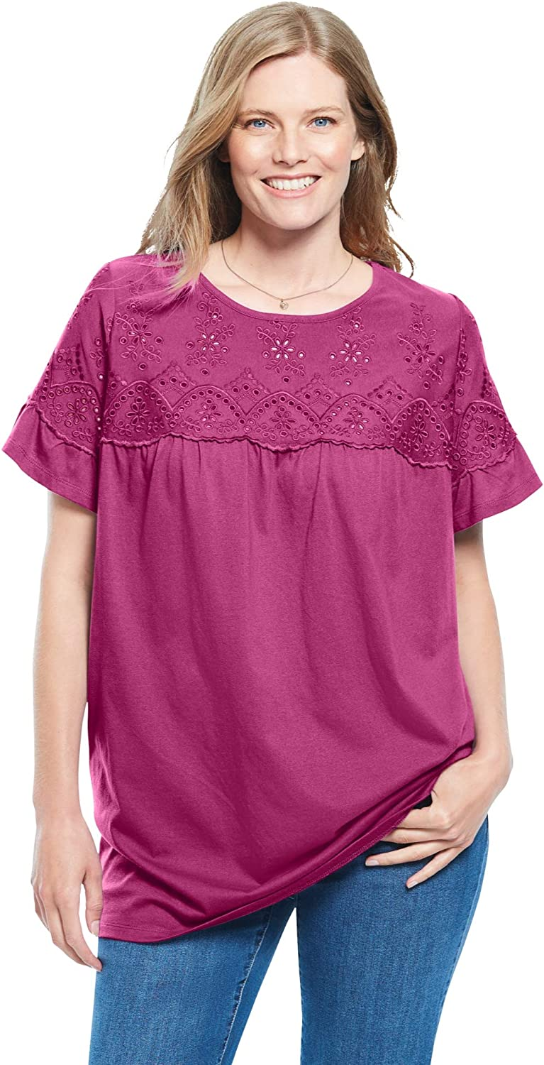 Woman Within Women's Plus Size Flutter Sleeve Eyelet Tunic