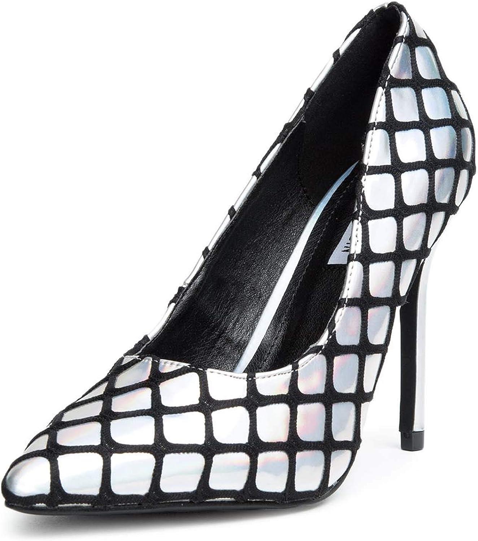 Fourever Funky Hologram Silver Pointy Toe Slip-On High Heel Pumps Women's