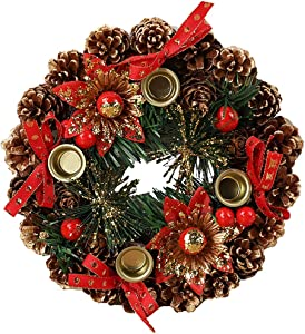 Petite Couronne Décoration de Noël, Guirlande de Sapin de Noël Artificielles Fait à Main Couronne de Fleurs avec Baies Rouges et Pommes Pin Décoré Approprié Déco Noël pour Votre Porte Diamètre 23cm