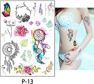 5Pcs Arte Corporal Tatuajes Temporales Falsos,Tatuajes Adhesivos Temporales Impermeable Para Adultos Hombre Mujer Niños Atrapasueños De Pavo Real Rosa Colorido Negro Tatuajes Para Brazos Pecho Trasero