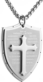HZMAN Shield Armor of God Ephesians 6:16-17, Faith Cross Stainless Steel Pendant Necklace
