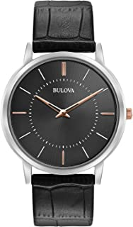 Bulova Men's Stainless Steel Analog-Quartz Watch with Leather Strap, Black, 0.9 (Model: 98A167)