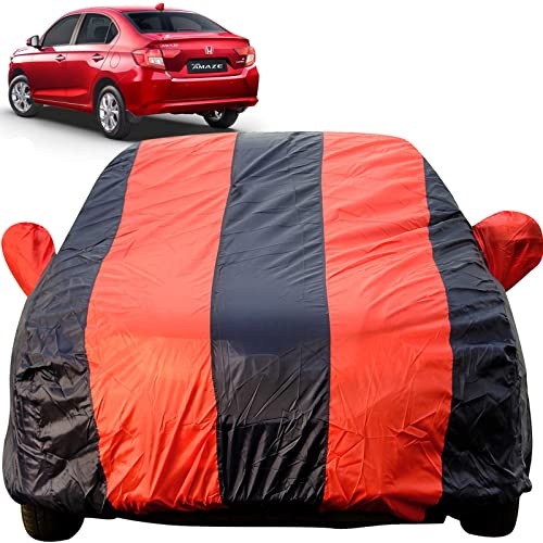 Autofact Car Body Cover for Honda Amaze Facelift 2018 Onwards Model (Mirror Pocket Fabric, Triple Stitched, Fully Elastic, Red/Blue Color)