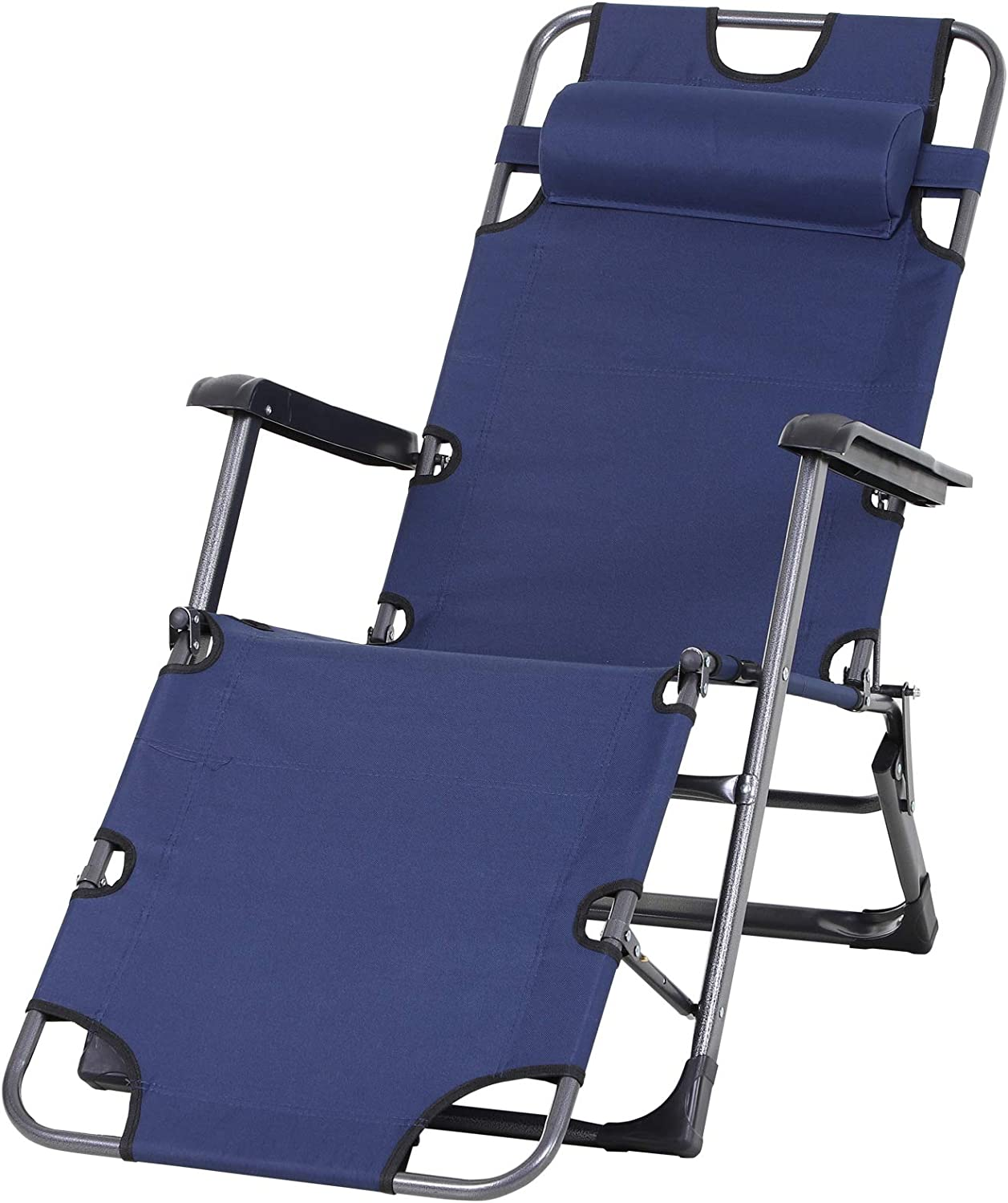 Outsunny Outdoor Folding Max 59% OFF Reclining Ranking TOP20 Lounge Chairs Patio Beach Oxf