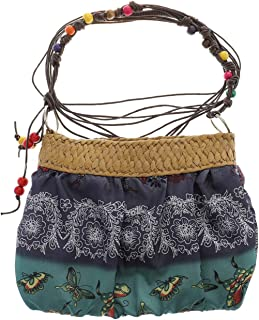 GaitserBY Serviceable Boho Bohemian Floral Straw Weave Cloth Belt Beach Bag Small Bag Crossbody Blue Red Messenger Bags