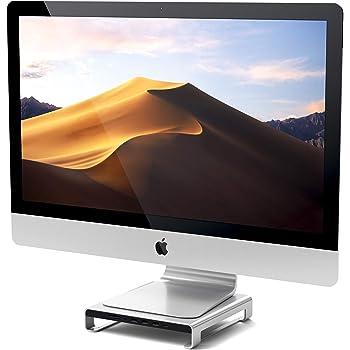 SATECHI Stand in Alluminio Tipo C iMac con Porta trasferimento Dati USB-C, USB 3.0, Slot schede Micro/SD e Jack Audio Compatible con 2017 iMac PRO e 2019/2017 iMac (Argento)