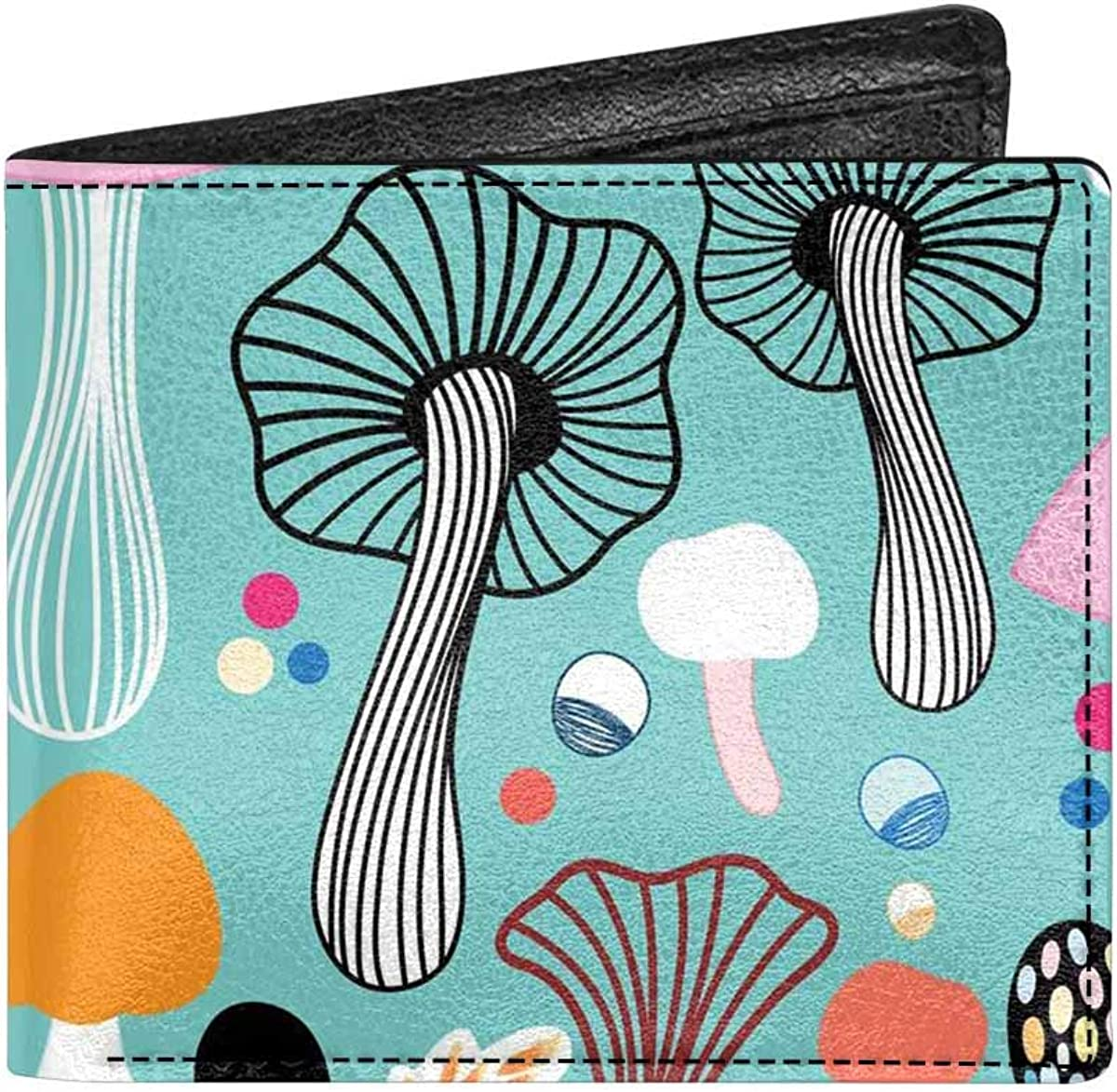 INTERESTPRINT Colorful Mushrooms Pattern Unisex Wallet Credit Card Wallet Bifold Purse With Coin Pocket