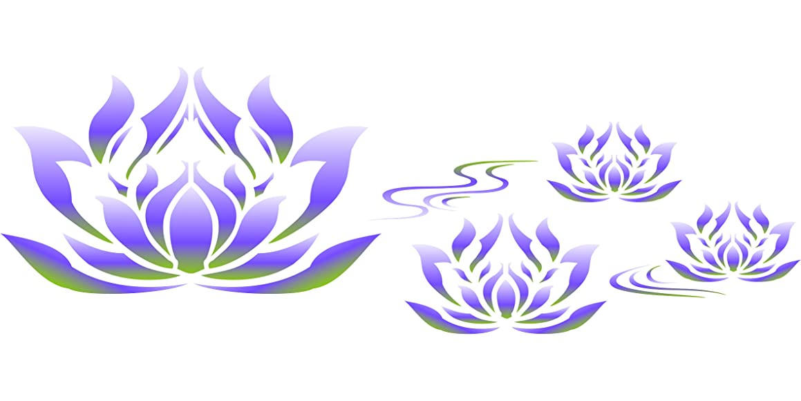 "Lotus Flower Border Stencil - (size 13.5""w x 4.5""h) Reusable Wall Stencils for Painting - Best Quality Wall Art Décor Ideas - Use on Walls, Floors, Fabrics, Glass, Wood, Terracotta, and More…"