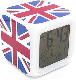 Boyan New England UK GB Union Jack National Flag Led Alarm Clock Creative Desk Table Clock Multipurpose Calendar Snooze Glowing Led Digital Alarm Clock for Unisex Adults Kids Toy Gift