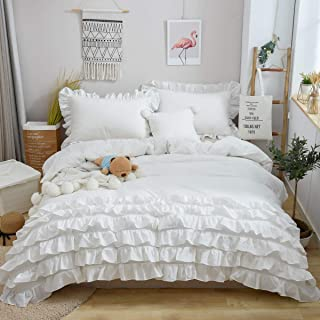 Softta Ruffled Bedding Sets Queen Size Duvet Cover Sets Bohemia Reversible Zipper Closure 100% Pure Natural White Washed Cotton One 88×88 Inches Quilt Cover with 2 20×30 Inches Pillowcase