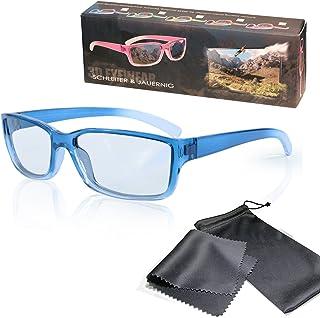 Gafas 3D para niños pasivo para RealD - Azul-transparente - Compatible con Cinema 3D de LG, Easy 3D de Philips, televisores 3D con polarización circular de Toshiba, Grundig, Sony, Panasonic y RealD en los cines - No Gafas 3D activas - No Active Shutter - Con estuche y paño de microfibra