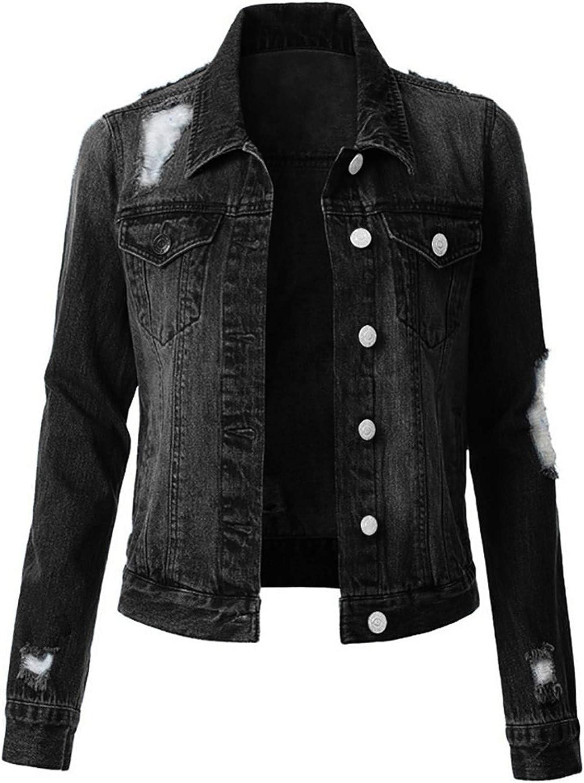 PEGONE Women's Fashion Ripped Denim Jacket Large Size Loose Casual Jacket