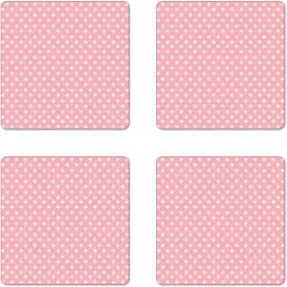 Lunarable Pink Coaster Set of 4, Delicate Small Florets in White Feminine Design Genteel in Vogue Soft Design, Square Hardboard Gloss Coasters for Drinks, Pale Pink White