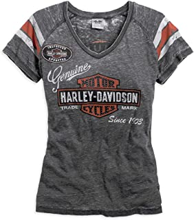 HARLEY-DAVIDSON Official Women's Genuine Oil Can Burnout Tee, Grey