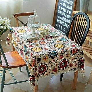 SKEIDO Square Cotton Linen Lace Sun Flower Tablecloth, Washable Tablecloth Dinner Picnic Table Cloth Home Decoration Assor...