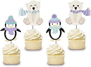 Penguin Cupcake Toppers 12 PCS, Cake Picks, Girl, Boy Baby Shower, Winter Wonderland Birthday Party Decorations Supplies, Polar Bear Themed