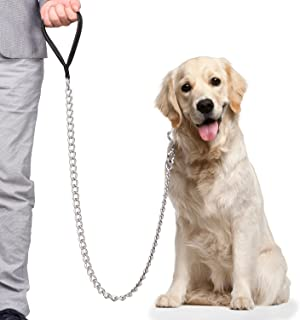 CtopoGoリード 犬用リード 愛犬用 大型専用 30kg以上 適用 PUレザー 金属製 5.0mm x 1.2cm 長さ 訓練しつけ アウトドア ランニング 散歩 (5.0mm X 120cm, ブラック)