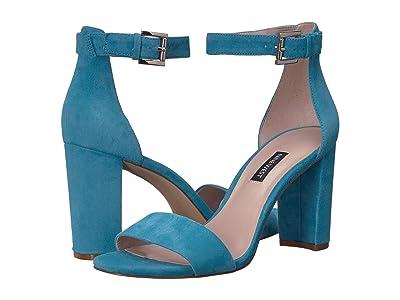 Nine West Nora Block Heeled Sandal (Sea Blue) Women