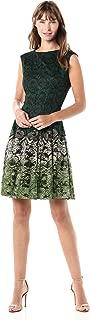 GABBY SKYE Women's Cap Sleeve Round Neck Printed Lace Dress