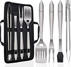POLIGO 5PCS Barbecue Grilling Accessories Set with Bag - Extra Thick Stainless Steel Spatula, Fork, Tongs & Basting Brush - Gift Box Package Ideal Birthday Gifts Set for Dad Men