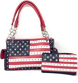 Texas West American Flag Rhinestone Women's Concealed Handbags Purse Wallet Set in Multi-Color