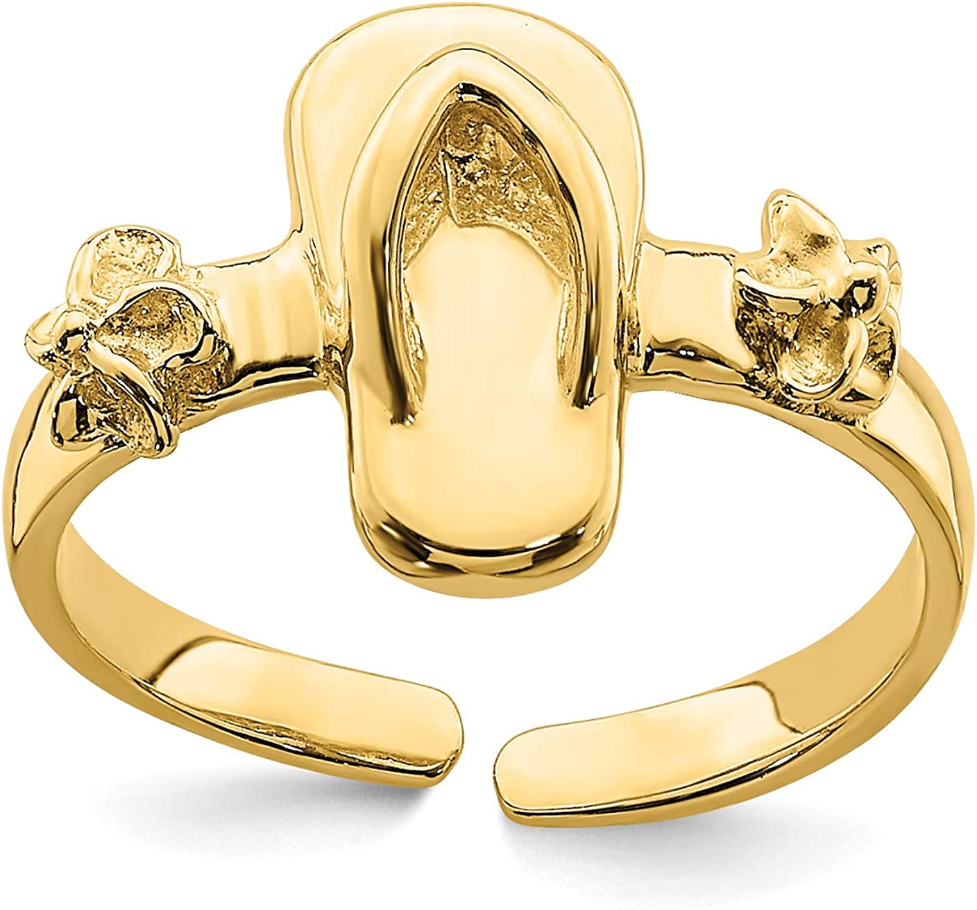 14k Yellow Gold Flip Flop Sandal and Flowers Toe Ring