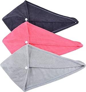 HOPESHINE Hair Drying Towel Twist Women's Soft Shower Microfiber Towels for Hair Turban Wrap Fast Drying Ultra Absorbent Cap Great Gift for Women (3-Pack Dark Grey+Grey+Light Crimson)
