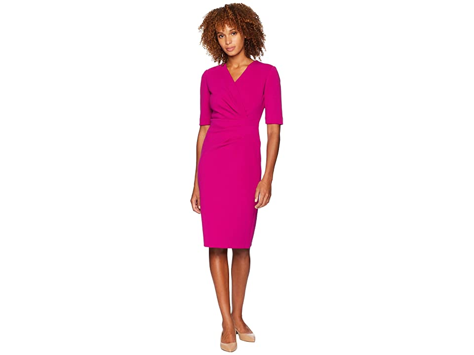Tahari by ASL 3/4 Sleeve Scuba Crepe Sheath with Side Ruching (Magenta) Women's Dress, Pink
