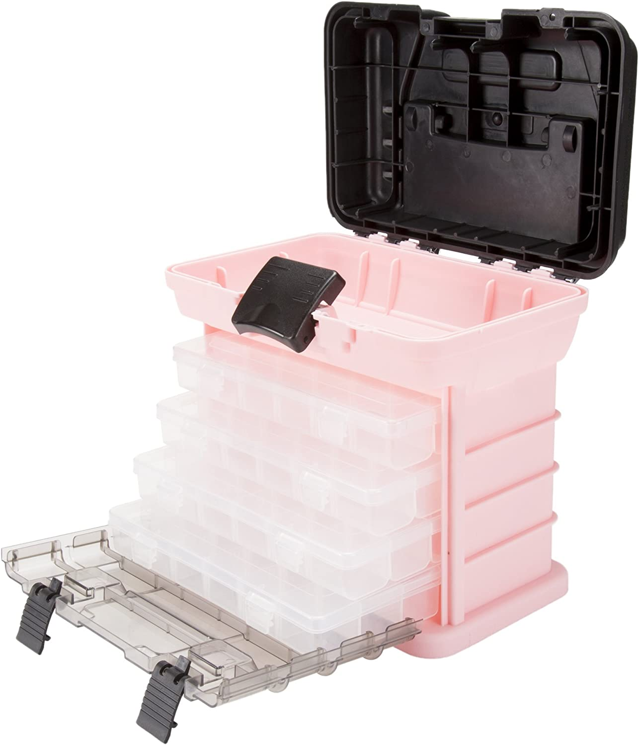 Pink Parts and Crafts Rack Style Plastic Tool Box with 4 Organizers