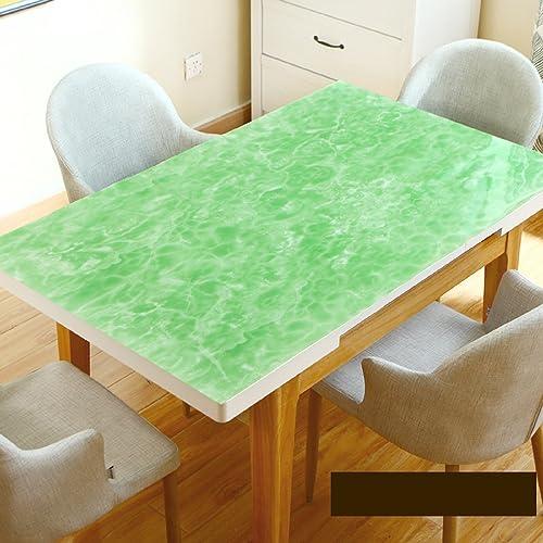 WAYMX Nappes Vertes Imitation Marbre Motif Table Mat étanche Anti-Chaude PVC Verre Souple Table Basse Table Rectangulaire 1.5mm, 70  120cm
