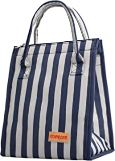 Suruid Lunch Bag for Men and Women Tote Cooler Insulated Lunch Bag Reusable Large Capacity Durable Material Lunch Bag for Adults/Kids/Picnic/Camping/Beach/School/Work (Blue&white)