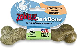 Pet Qwerks Zombie BAMBOO BarkBone, Peanut Butter Flavor - Chew Toy from Bamboo Fibers for MODERATE and GENTLE chewers | Ma...