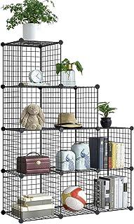 BRIAN & DANY 9 Cubos de Almacenamiento de Rejilla, Cubos más Grandes (35 cm vs. 30 cm), Rejilla de Alambre de Metal, estantería para almacenaje Multiusos