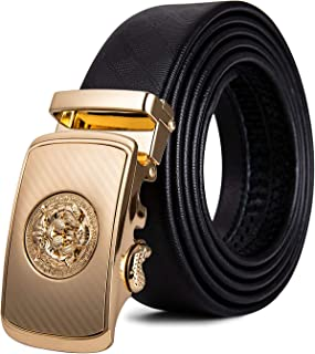 Mens Ratchet Belt,Genuine Leather Belt with Automatic Buckle Alloy,Gift Set for Men