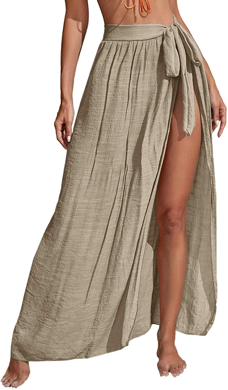 SheIn Women's Beach Sarong Swimsuit Cover Up Tie Waist Split Wrap Maxi Skirt