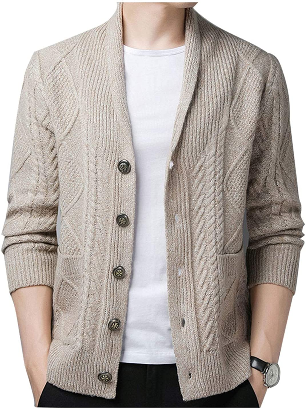 Yeokou Men's Casual Shawl Collar Button Down Cabel Knit Pockets Cardigans Sweaters
