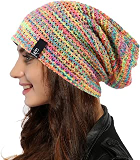 Ruphedy Women Knit Slouchy Beanie Hat Trendy Multicolor Skull Cap for Winter Summer