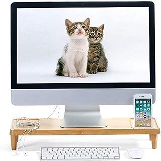MissZZ Support de Moniteur d'ordinateur, Support d'imprimante d'écran de télévision en Bois de Bambou, Organisateur de Bur...
