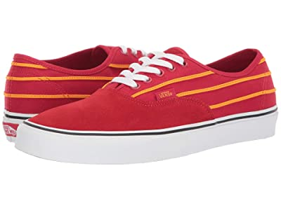 Vans Authentictm ((Sport Stripes) Racing Red/Cadmium Yellow) Skate Shoes